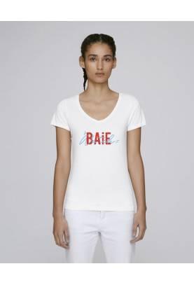 T Shirt Ethique Baie Watch Col V en coton bio